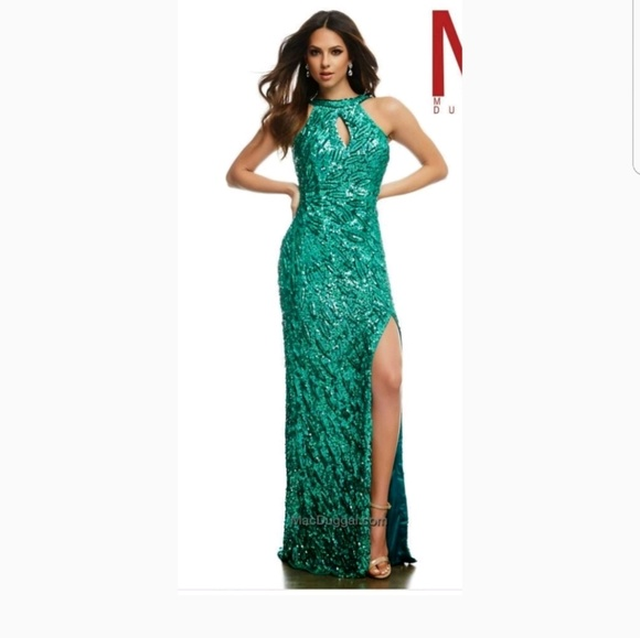 Mac Duggal Dresses | Jade Green Sequin Keyhole Cutout Dress | Poshmark